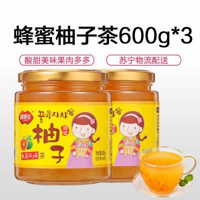 福事多蜂蜜柚子柠檬茶600g*3瓶水果茶韩国风味蜂蜜茶柚子酱花茶